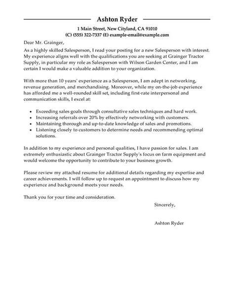 Furniture Sales Cover Letter by Outstanding Retail Cover Letter Exles Templates From