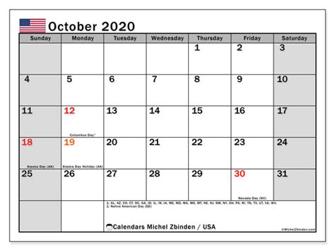 october  calendar usa michel zbinden en