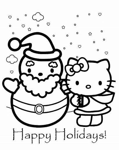Kitty Hello Coloring Pages Christmas Sheets Sheet