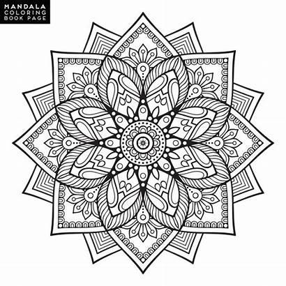 Mandala Oriental Coloring Flower Motifs Decorative Pages