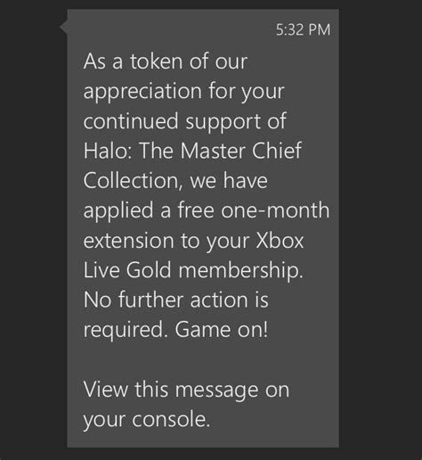 halo the master chief collection owners receives one month of free xbox live gold subscription