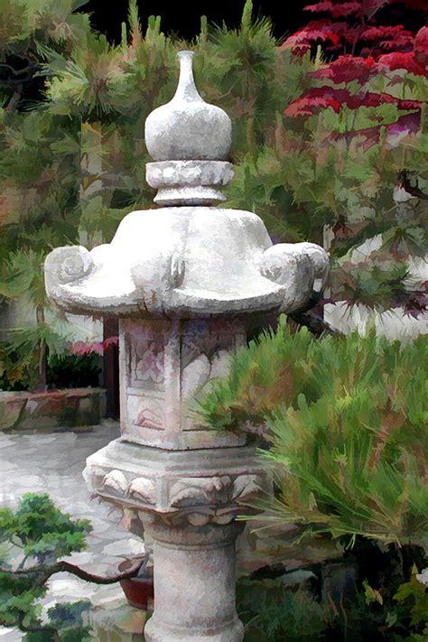 japanese garden lantern statue painting by elaine