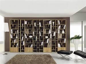 Bibliothèque Murale Bois : biblioth que murale en bois espace by domus arte design ~ Premium-room.com Idées de Décoration