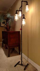 pipe floor lamp 4 fixture living room steampunk mason jar does With lamp to light up entire room