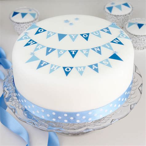 cake decoration ideas for boy boys christening cake decorating kit with bunting by
