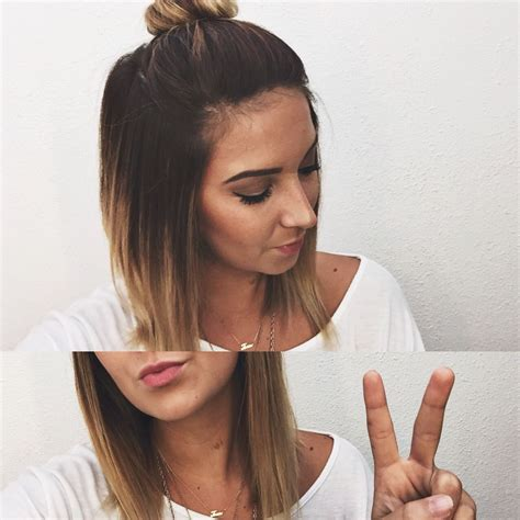 Short Ombré Hair Top Knot Bun Hair Pinterest