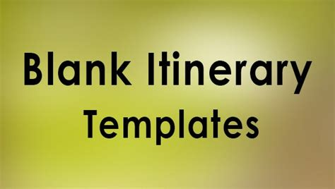 sample blank itinerary templates