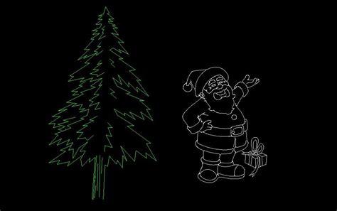 pine christmas tree  santa elevation  dwg block