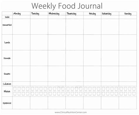 Genuine Pictures Of Food Journal Template Pdf