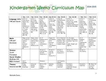 Kindergarten Curriculum Map All Subjects By Michelle