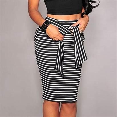 Pencil Skirts Waist Skirt Bodycon Striped Rayas