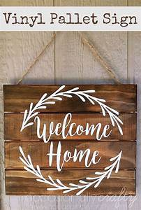 vinyl quotwelcome homequot pallet sign free silhouette cut With wood sign letter templates