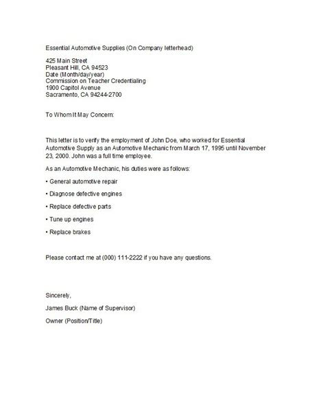 employment verification letter sample templates  word
