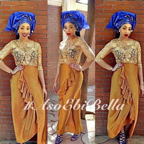 gold lace blouse  brown wrapper blue  gold gele