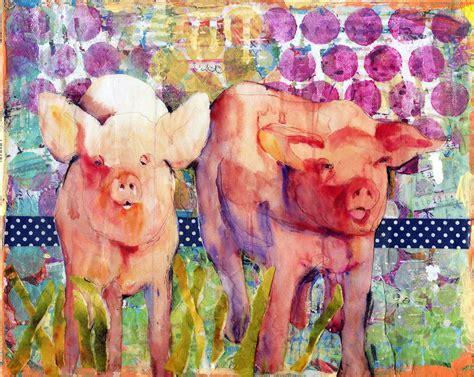 mixed media art pig art animal art collage art