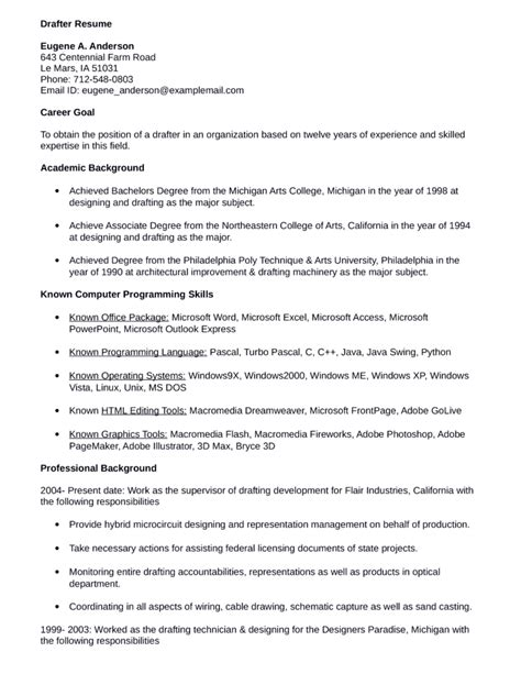Drafting Resume Templates by Functional Drafter Resume Template