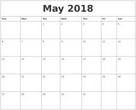 may 2018 word calendar