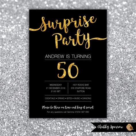 Surprise Party Birthday Invitation 21st 30th 40th 50th