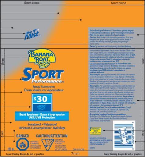 Banana Boat Sunscreen Oxybenzone by Dailymed Banana Boat Sport Performance Spf 30 Canada