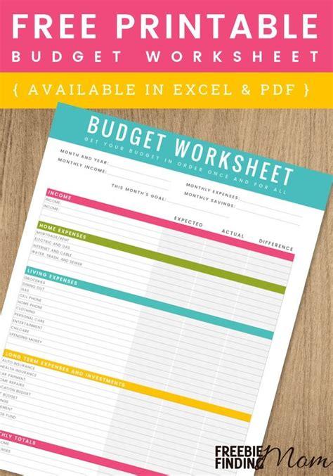 printable household budget worksheet excel