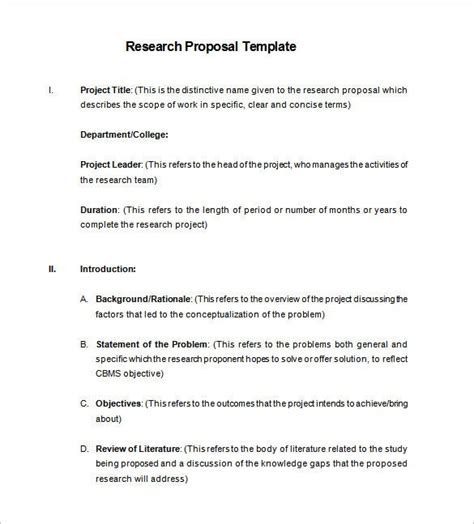 research proposal templates   excel  premium templates