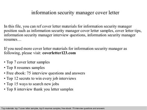 sample cover letter information security manager