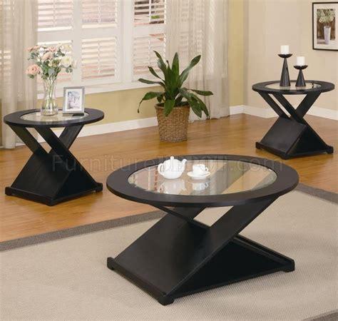 modern table l set rich black finish modern 3pc coffee table set w round