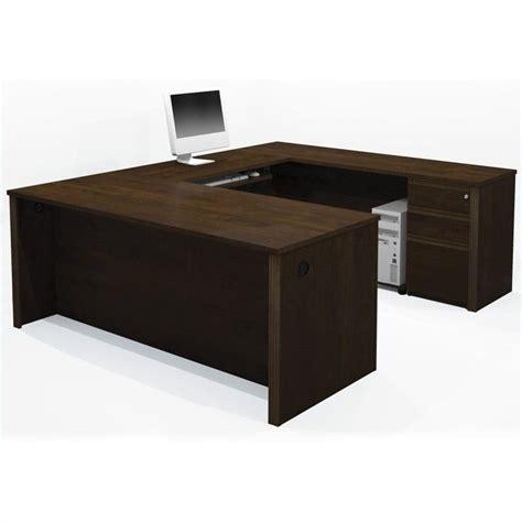 bestar prestige u shape wood computer desk with pedestal