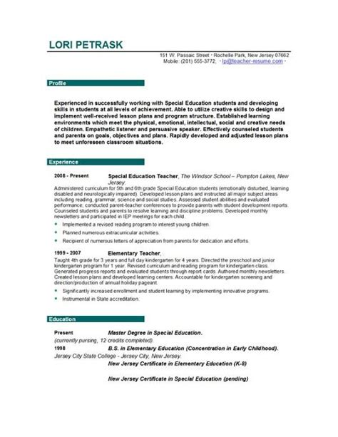 Type Of Resume For Teachers best type resume teachers