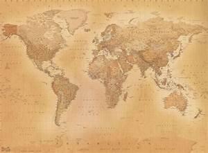 Giant vintage world map wallpaper murals