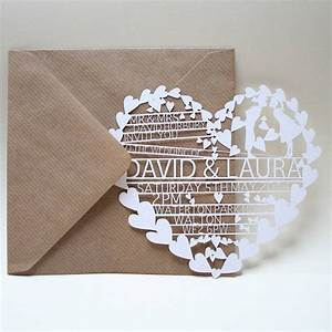 39hearts39 laser cut wedding invitation creative wedding With laser cut heart wedding invitations uk