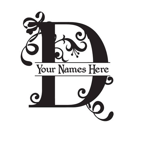 monogram  flourish  initial  names vinyl decal