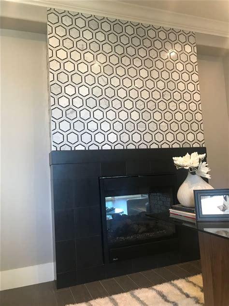hexagon black  white tile fireplace black  white