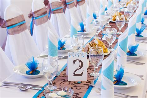 wedding table with number two stock photo image of blue 33649346