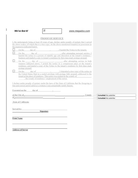 proof of service template california proof of service of notice forms and 24146   0011812 california proof of service of notice