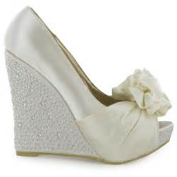 wedding shoe wedges womens diamante ivory peeptoe wedge heeled satin wedding shoes size 3 8