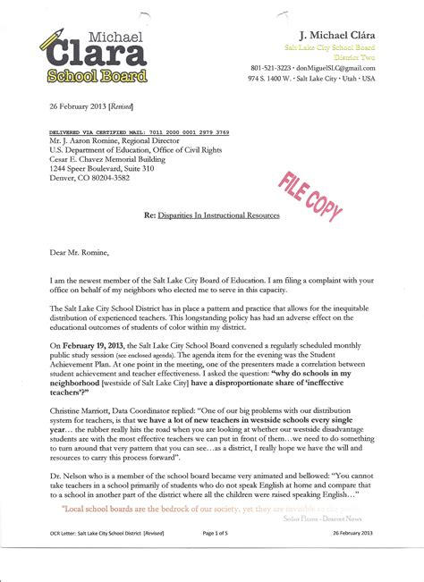 complaint    office  civil rights letter