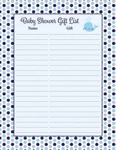 How to play this free printable baby shower game: Baby Shower Gift List Template - 8+ Free Word, Excel, PDF ...
