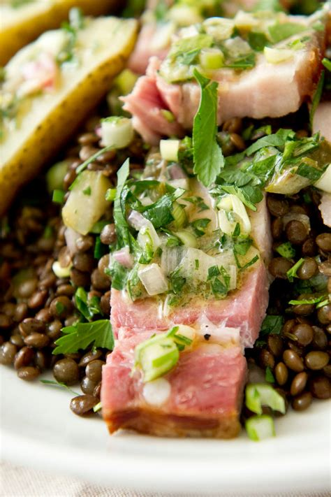 warm lentil  smoked pork belly salad recipe nyt cooking