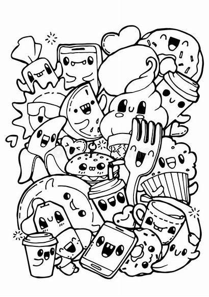 Doodle Coloring Doodles Pages Dining Doodling Vector
