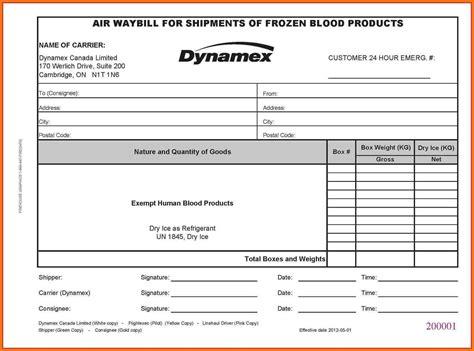 air waybill formato excel sample travel bill