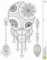 Zentangle Maan Boheemse Pijlen Getrokken Sovietica Frecce Disegnata Boemia sketch template