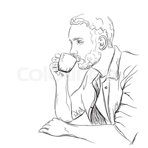 hand drawn illustration man drinking coffee people
