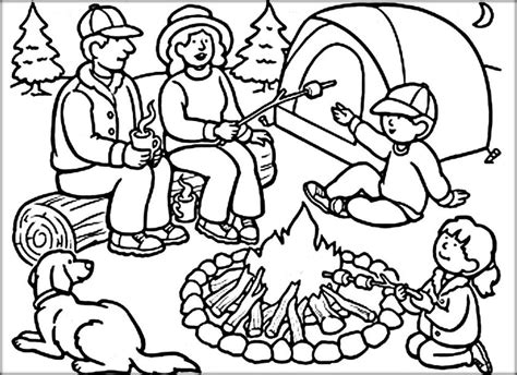 camping coloring pages color zini 895 | Family Enjoy Summer Camp