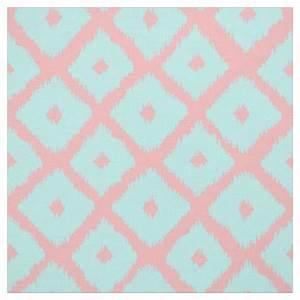 Modern teal coral trendy ikat pattern fabric Zazzle