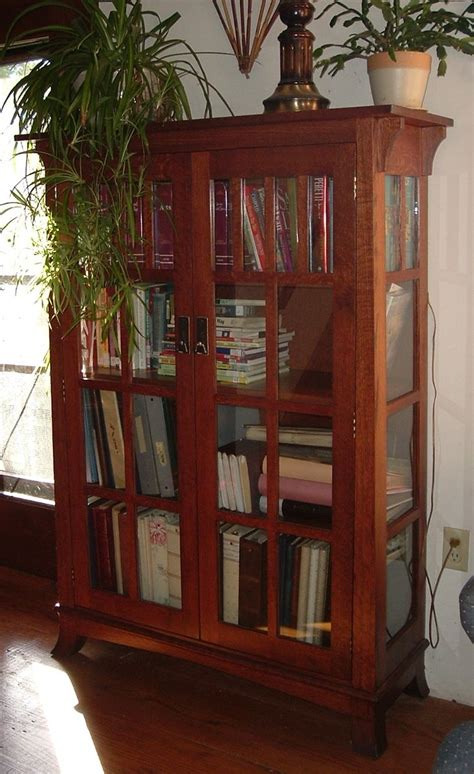 handmade mission bookshelf  glass doors  ivy lane