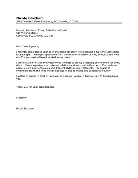 Resume For Licensed Esthetician by Esthetician Cover Letter Http Www Resumecareer Info Esthetician Cover Letter Resume