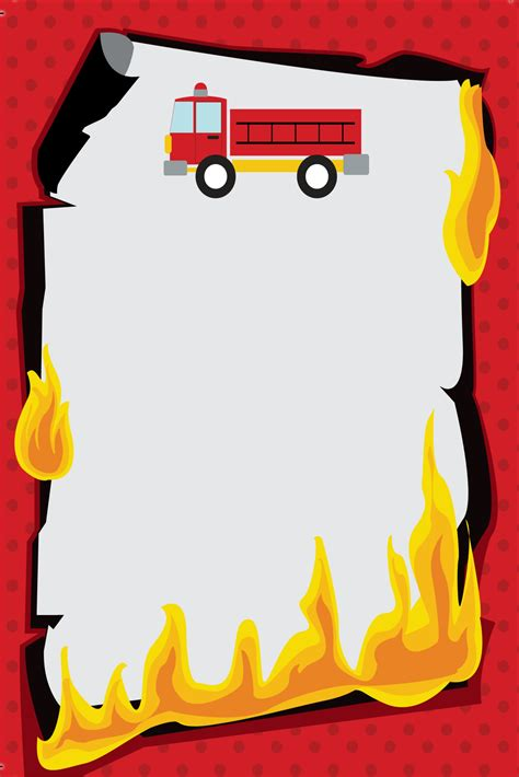 fired  fire truck firefighter invitation personalized