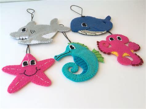 felt toddler friendly christmas ornaments set of 5 sea