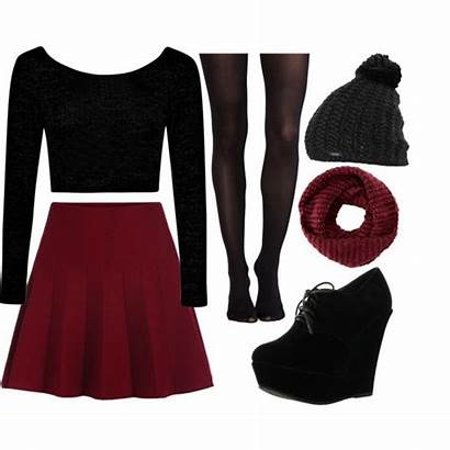 Polyvore Skater Skirt Outfit Maroon Clothes Outfits